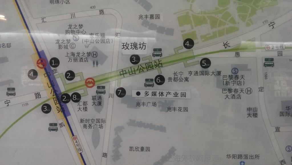 中山公园地铁站出口分布图